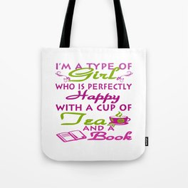 Girl with a cup of tea and a book Tote Bag