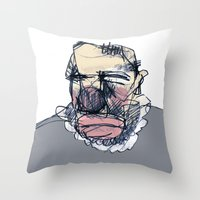 clown Throw Pillows featuring clown by jenapaul