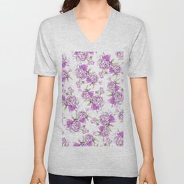 Elegant lavender lilac pink hand painted watercolor peonies Unisex V-Neck