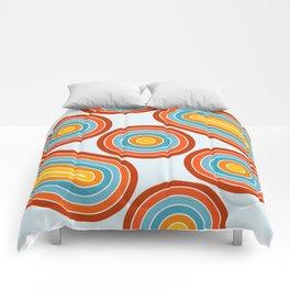 Retro Motion 2 – Orange / Yellow / Blue Abstract Stripe Pattern Comforters