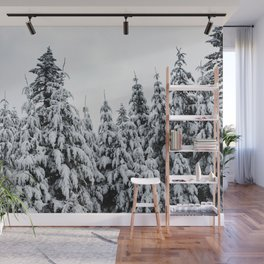 Winter Trees IX - Snow Capped Forest Adventure Nature Photography Wall Mural