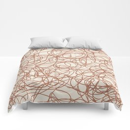 Cavern Clay SW 7701 Thick Hand Drawn Scribble Mosaic Pattern Creamy Off White SW7012 Comforters