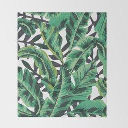 Tropical Glam Banana Leaf Print Throw Blanket