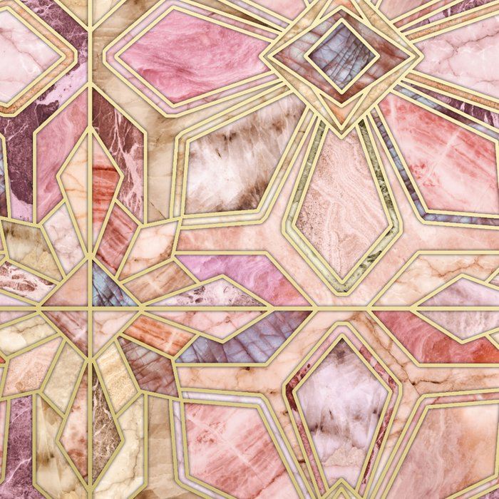 Geometric Gilded Stone Tiles in Blush Pink, Peach and Coral Leggings