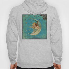 Vintage-Shabby-chic- Beautiful Christmas angel on aqua background Hoody