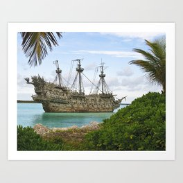 Pirate ship in the Caribbean Art Print