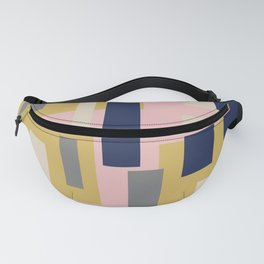 Modern Geometric Color Block Pattern in Pink, Mustard, Blue, Gray, and Taupe Fanny Pack