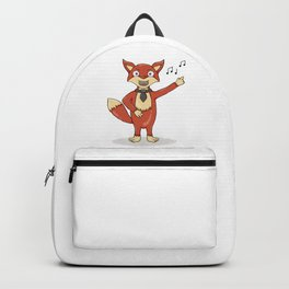 Red fox singing song with black tie. Backpack