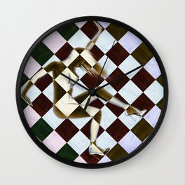 Survive Nude Woman Checkered 3 Wall Clock