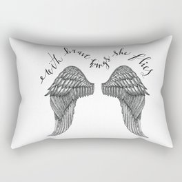 With Brave Wings She Flies Quote and Inked Wing Illustration Rectangular Pillow