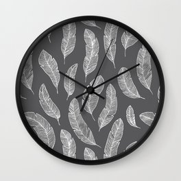 White Feathers on Black Background Wall Clock