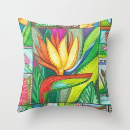 Bird of Paradise Quilt Square Note Throw Pillow
