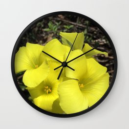 Yellow clover flowers Wall Clock