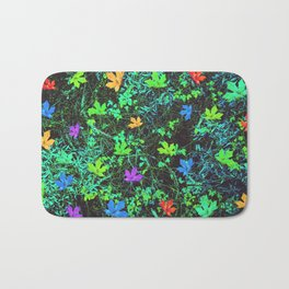 maple leaf in pink blue green orange with green creepers plants Bath Mat