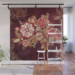 Golden Embroidery Flowers Wall Mural