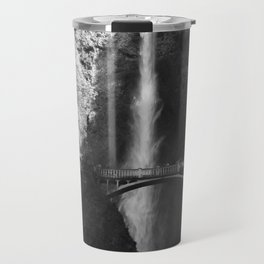 Multnomah Falls Oregon Waterfall Black and White Travel Mug