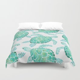 Sea Turtle Pattern - Blue Duvet Cover