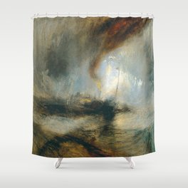 "J.M.W. Turner ""Snow Storm - Steam-Boat off a Harbour's Mouth"" Shower Curtain"