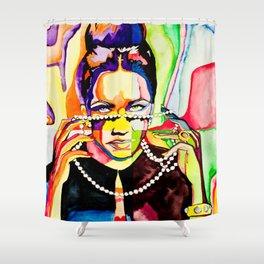 The Girl with Violet Eyes Shower Curtain