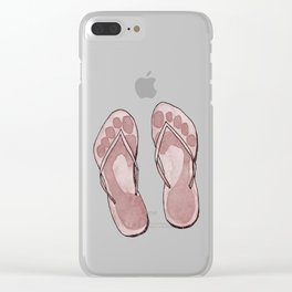 Happy coloured flip flops summer vibes Clear iPhone Case