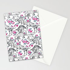Dinosaurs and Roses - white Stationery Cards