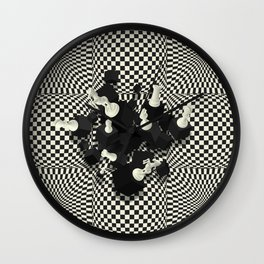 Chessboard and 3D Chess Pieces composition Wall Clock