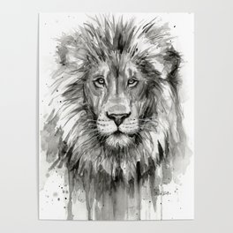 Lion Watercolor Poster