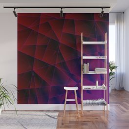 Abstract strict pattern of burgundy and overlapping purple triangles and irregularly shaped lines. Wall Mural