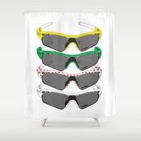 tour de france Shower Curtains featuring Tour de France Glasses by Pedlin