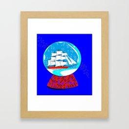 A Nautical Snow Globe with a Clipper Ship Framed Art Print