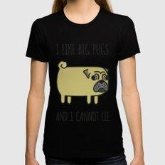 1# I like big pugs X-LARGE Womens Fitted Tee Black