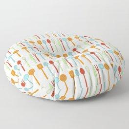 Kitchen Utensil Colored Silhouettes on Cream Floor Pillow