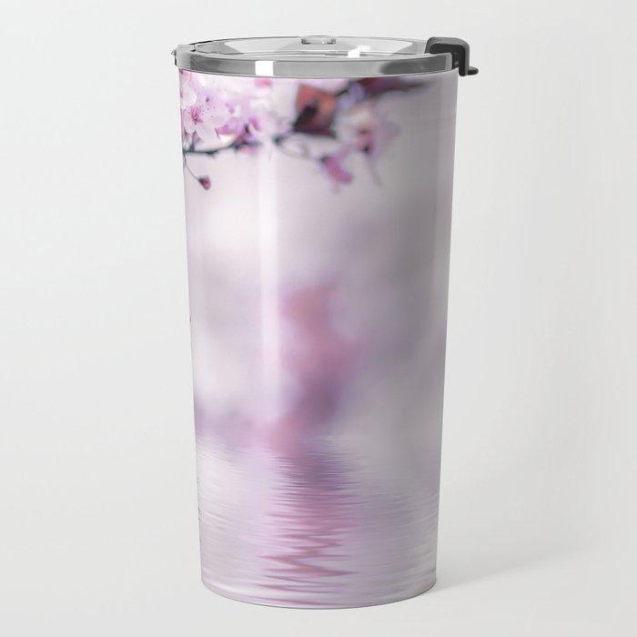 Zen Style Cherry Blossom and Water Travel Mug