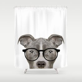 Pit bull with glasses Dog illustration original painting print Shower Curtain