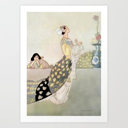 """Nightingale and Rose"" Fairy Art by Charles Robinson Art Print"