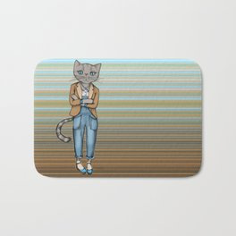 Hipster Kitty Cool Bath Mat