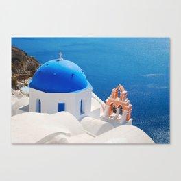 Blue Dome Church on Santorini Island Canvas Print