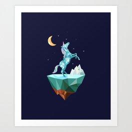 unicorn in the universe Art Print
