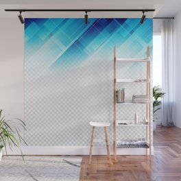 Blue geometric technological background Wall Mural
