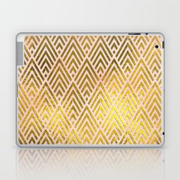 Gold foil triangles on pink - Elegant and luxury triangle pattern Laptop & iPad Skin