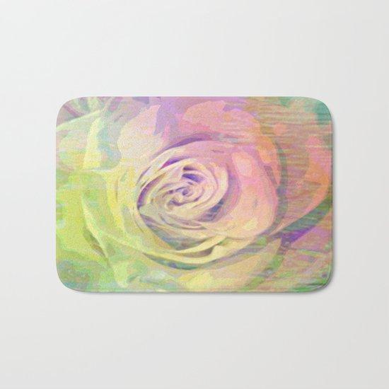 Painterly Pastel Rose Abstract Bath Mat