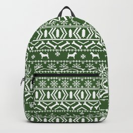Chihuahua fair isle christmas sweater green and white minimal chihuahuas dog breed Backpack