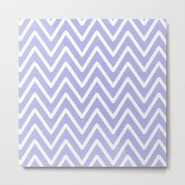 Chevron Wave Blue Ultra Soft Lavender Blush Metal Print