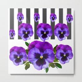 WHITE LILAC & PURPLE PANSY FLOWERS ART Metal Print