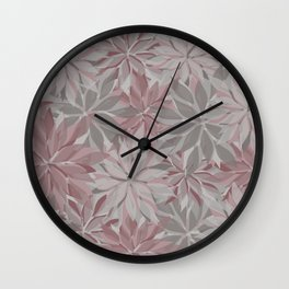 Layered Florals in Rose Shades Wall Clock