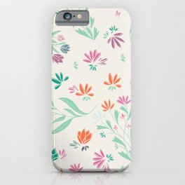 Spring floral multicolor seamless pattern pink green blue cream orange iPhone Case