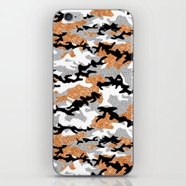 Faux Glitter Orange Camouflage iPhone Skin