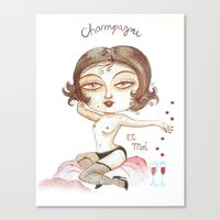 champagne Canvas Prints featuring Champagne by laxisca