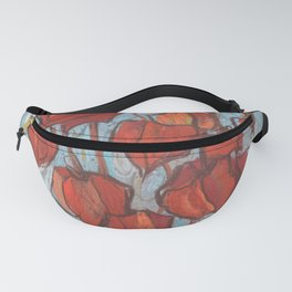 Chinese Lanterns, Pastel Painting, Autumn Floral Fanny Pack
