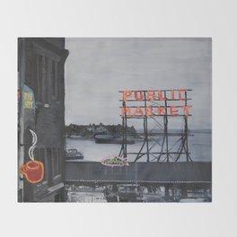 Pike Place Market - Black & White & Neon -Seattle Washginton Throw Blanket